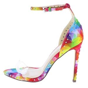 Shoes - New! Rainbow Clear Stud Ankle Strap Stiletto Heel